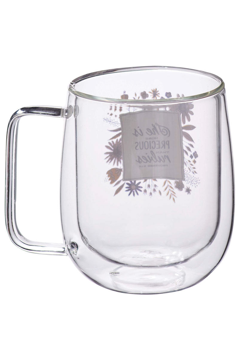 More Precious Than Rubies Double-Walled Glass Mug
