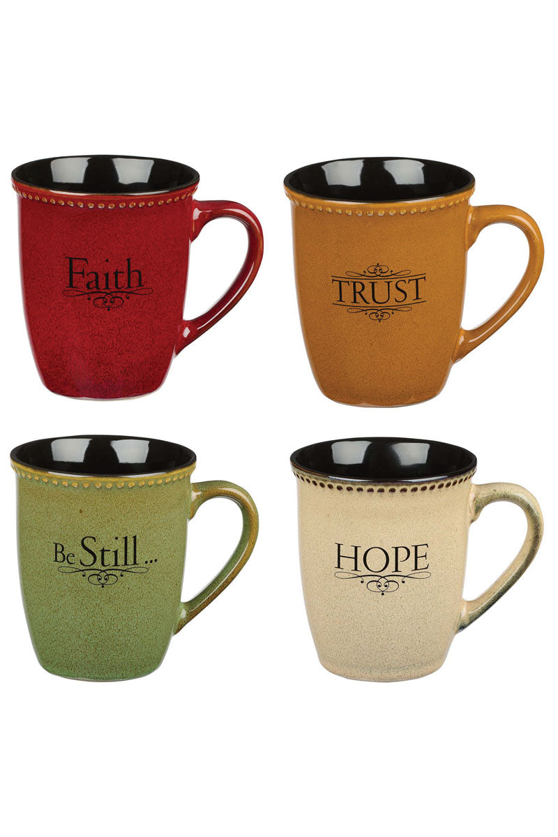 Faith, Hope, Trust & Be Still Stoneware 4 Piece Mug Set