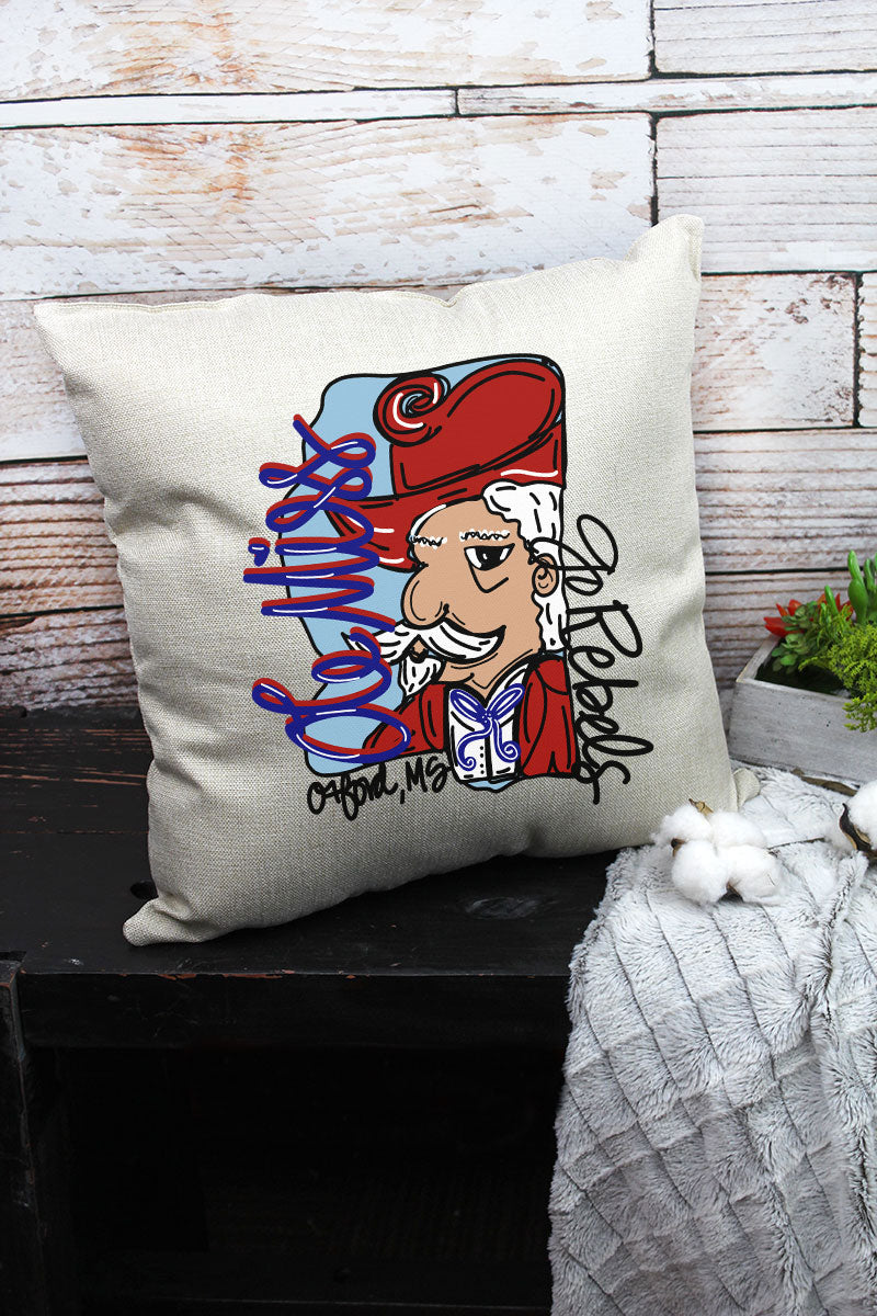 Mascot Ole Miss Doodle Decorative Pillow Cover