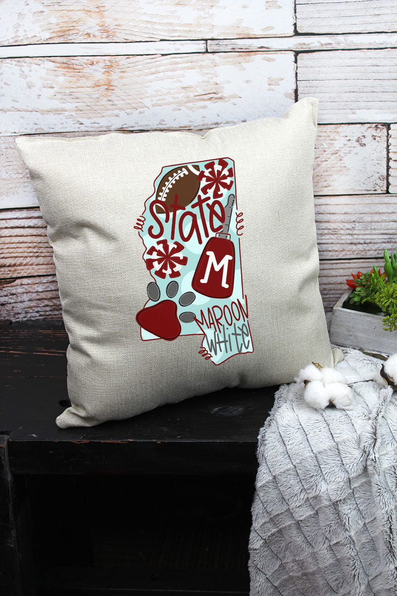 State Mississippi State Doodle Decorative Pillow Cover