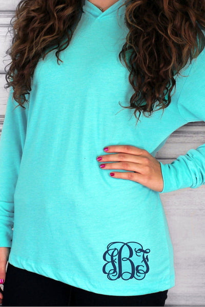 Tri-Blend Unisex Long Sleeve Hoody, Tahiti Blue *Personalize It!