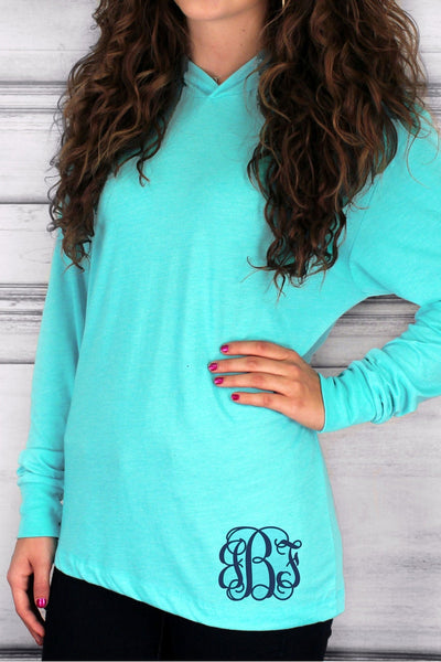 Tri-Blend Unisex Long Sleeve Hoody, Tahiti Blue #NL6021 *Personalize It!