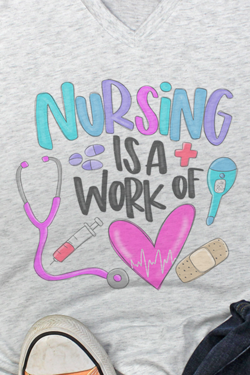 Doodle Nursing Is A Work Of Heart Tri-Blend V Neck Tee