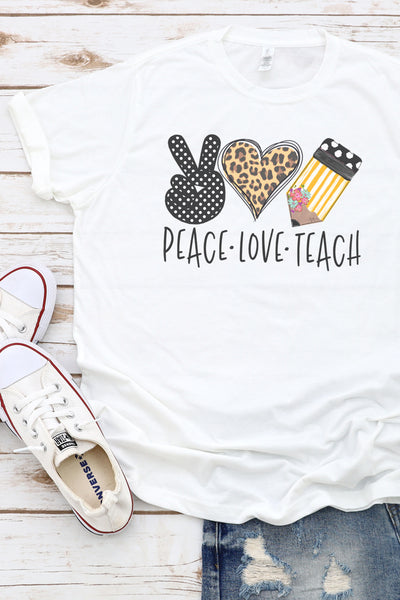 Doodle Peace Love Teach Leopard Poly/Cotton Tee