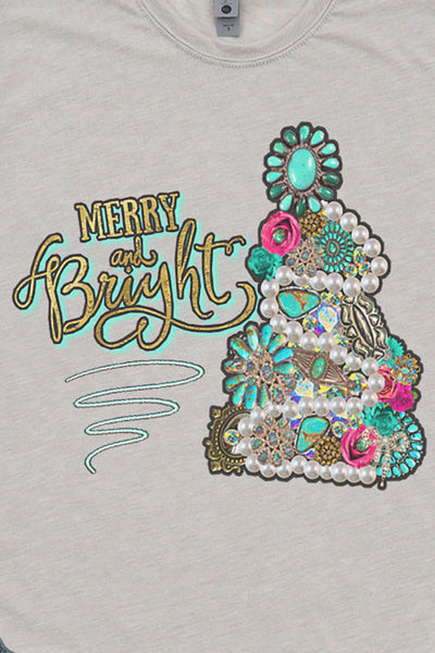 Turquoise Tree Merry and Bright Poly/Cotton Tee