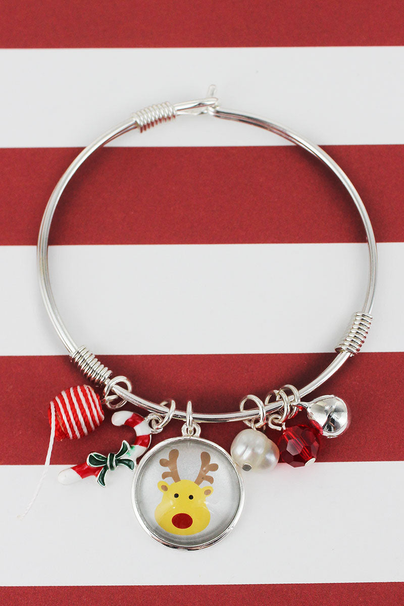 Rudolph Bubble Charm Silvertone Bangle