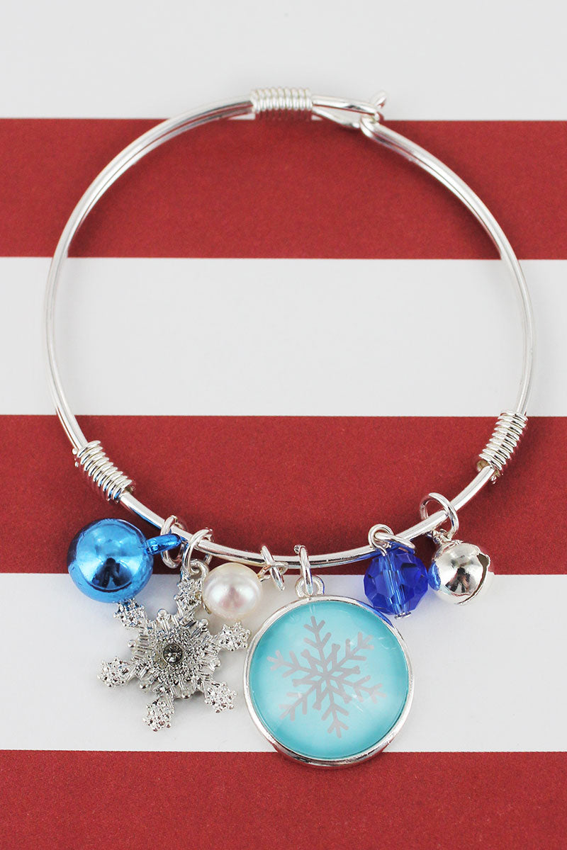 Snowflake Bubble Charm Silvertone Bangle