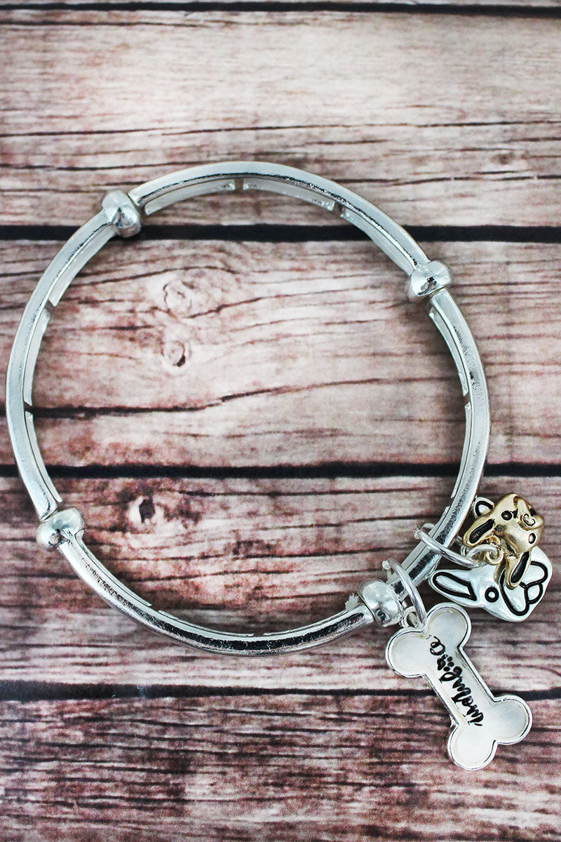 Two-Tone 'Dog Mom' Bubble and Dog Face Charm Stretch Bracelet