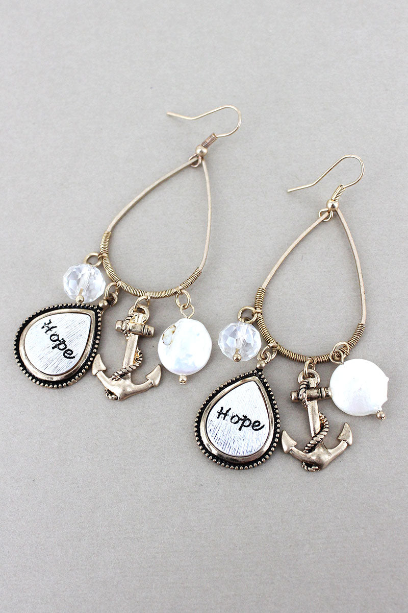 Brushed Two-Tone 'Hope' Teardrop and Anchor Charm Teardrop Earrings
