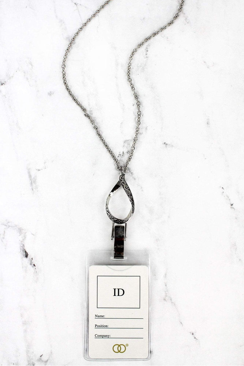 Silvertone Scroll Teardrop Lanyard with ID Holder