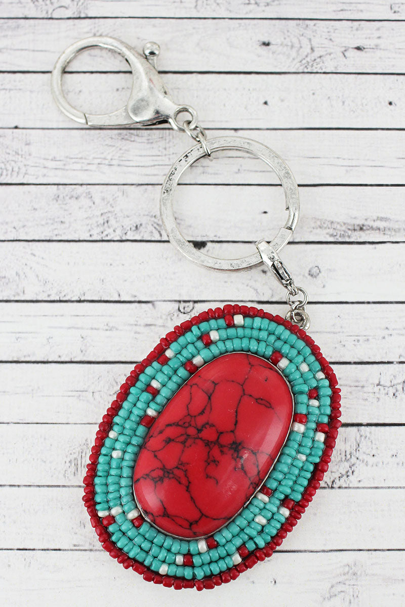 Red and Turquoise Seed Bead Framed Stone Oval Keychain