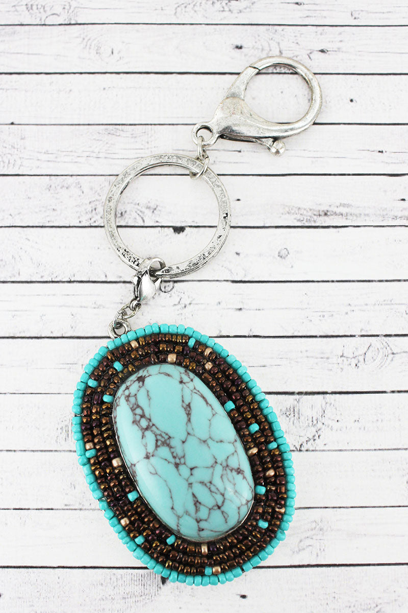 Turquoise and Brown Seed Bead Framed Stone Oval Keychain