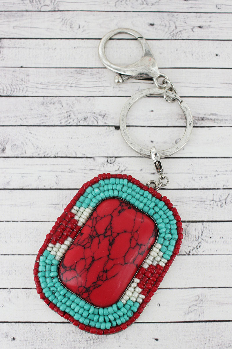 Tri-Color Seed Bead Framed Red Stone Keychain