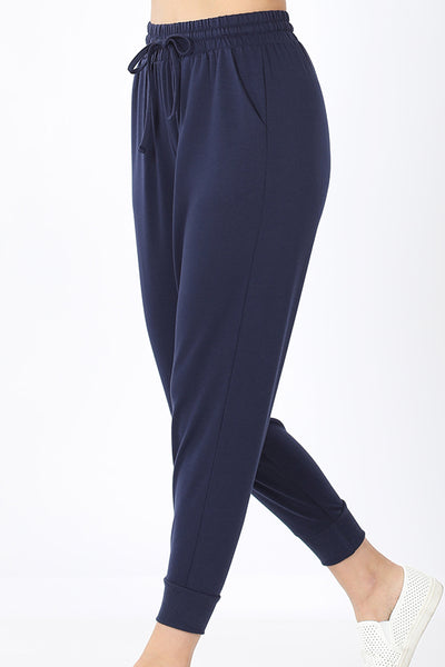 Navy French Terry Ankle Jogger Sweatpants