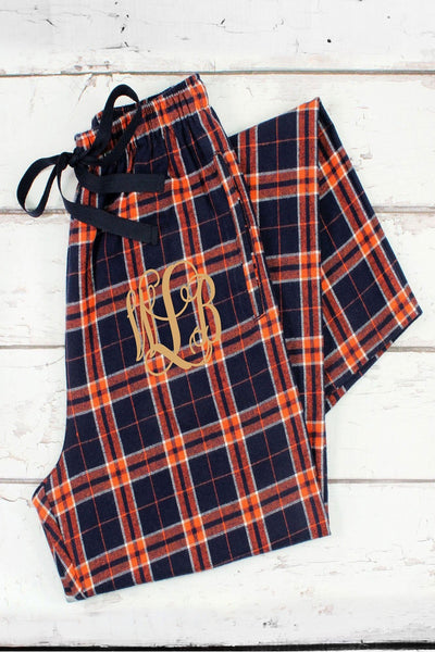 Orange and Navy Plaid Flannel Pajama Pant *Personalize It