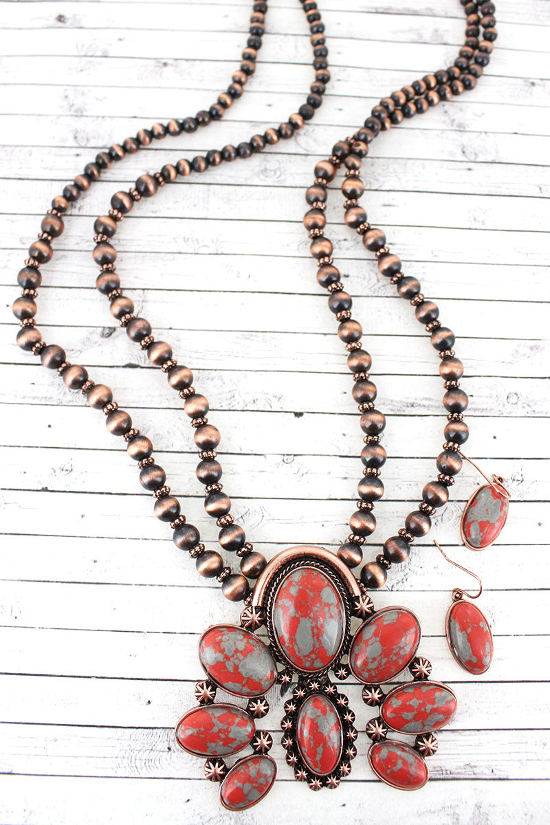 Worn Coppertone and Orange Naja Pendant Navajo Pearl Necklace and Earring Set