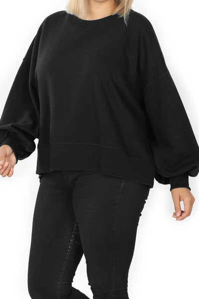 Plus Size Black Balloon Sleeve Sweatshirt