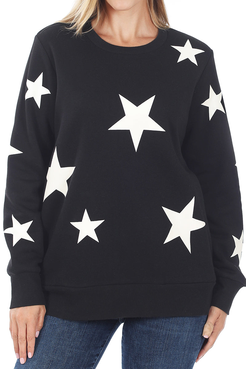 Black and Ivory Star Pocket Sweatshirt
