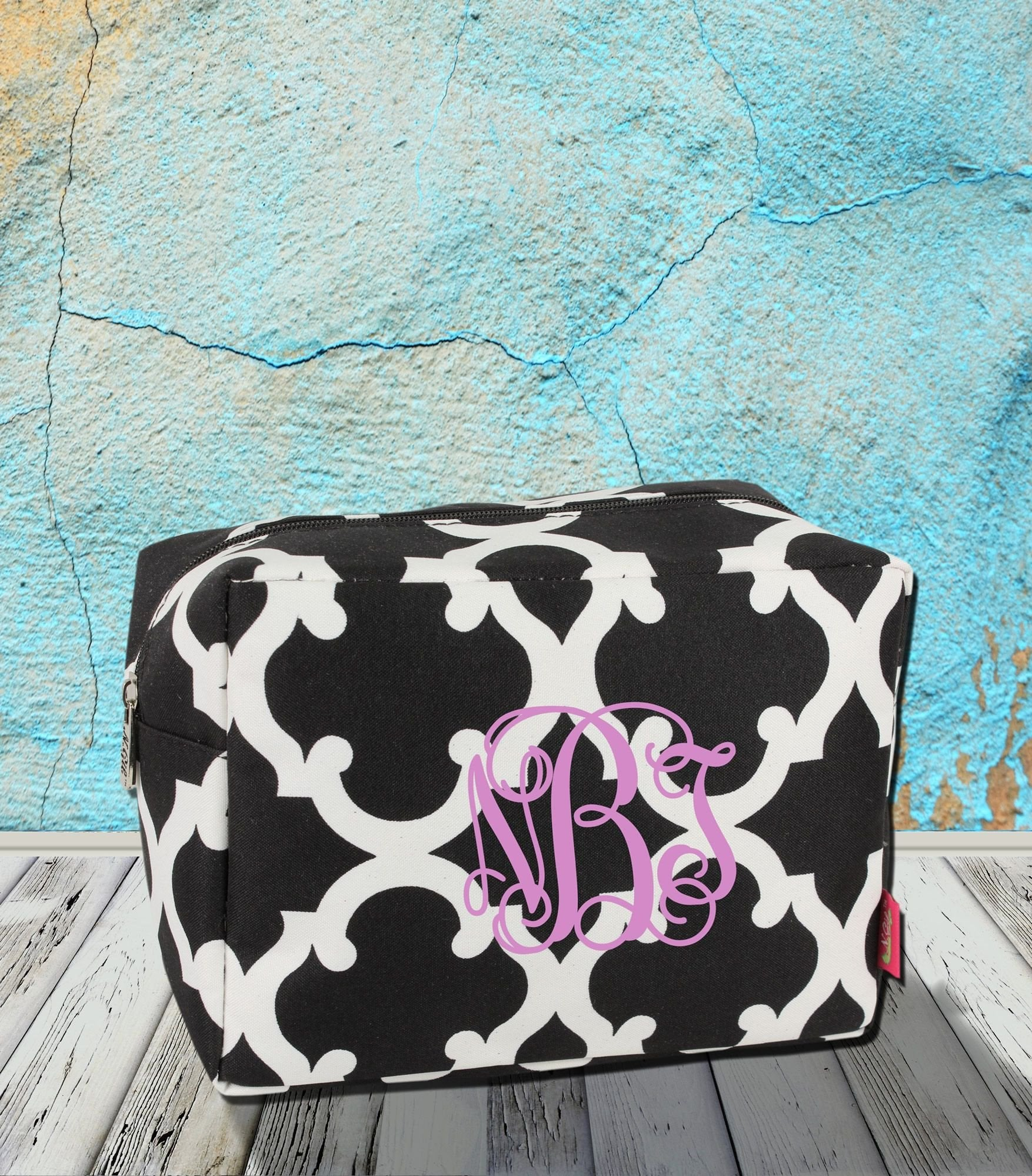 Black Moroccan Geometric Cosmetic Case #OTG613-BLACK
