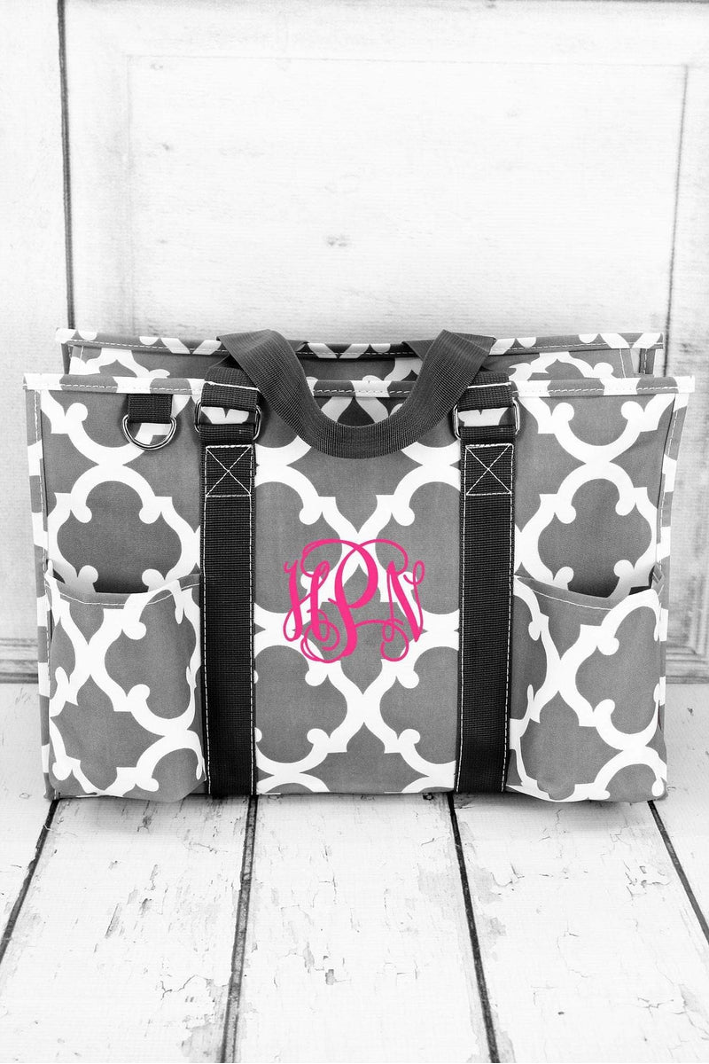 Gray Moroccan Geometric Utility Tote #OTG731-GRAY - Wholesale Accessory Market