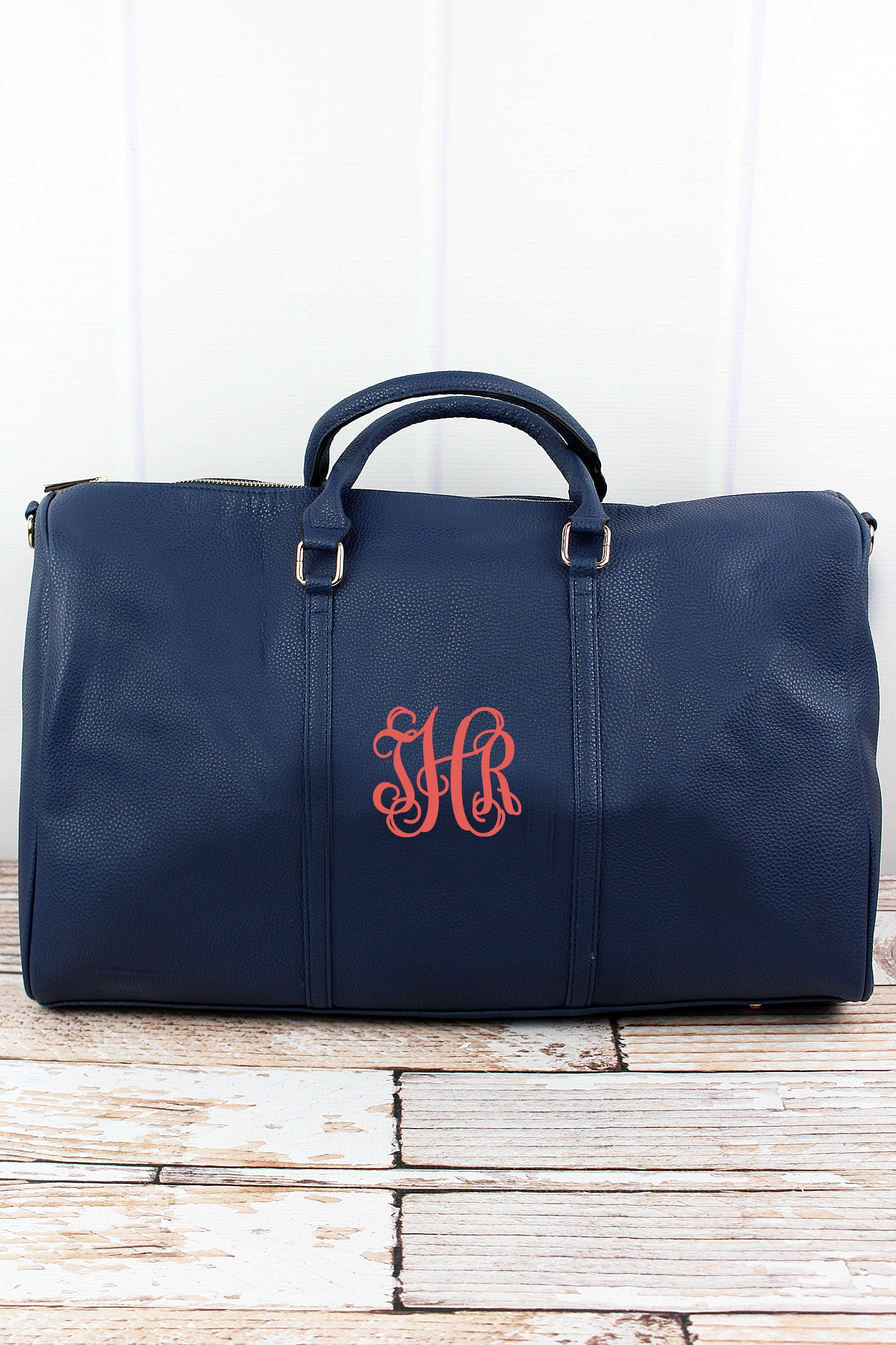 NGIL Navy Faux Leather Weekender Duffle Bag