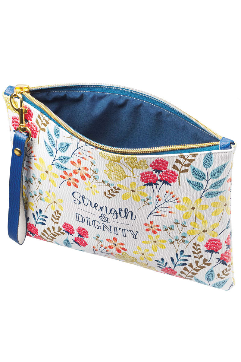 Strength & Dignity Faux Leather Zippered Pouch