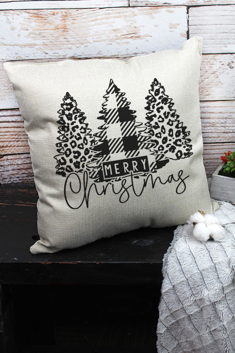 Black Merry Christmas Leopard Trees Decorative Pillow Cover