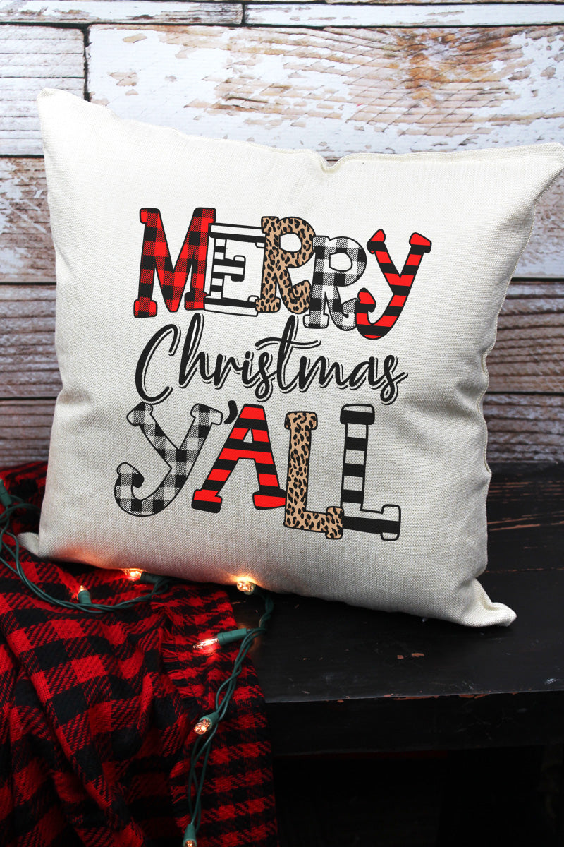 Doodle Merry Christmas Y'all Decorative Pillow Cover