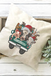 Farm Animals Merry Christmas Decorative Pillow Cover