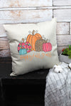 Floral Pumpkin Happy Fall Y'all Decorative Pillow Cover
