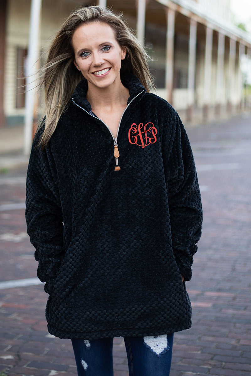 PRE-ORDER* Black Plush Pineapple Fleece 1/4 Zip With Pockets **EXPECTED SHIP DATE 8/30**