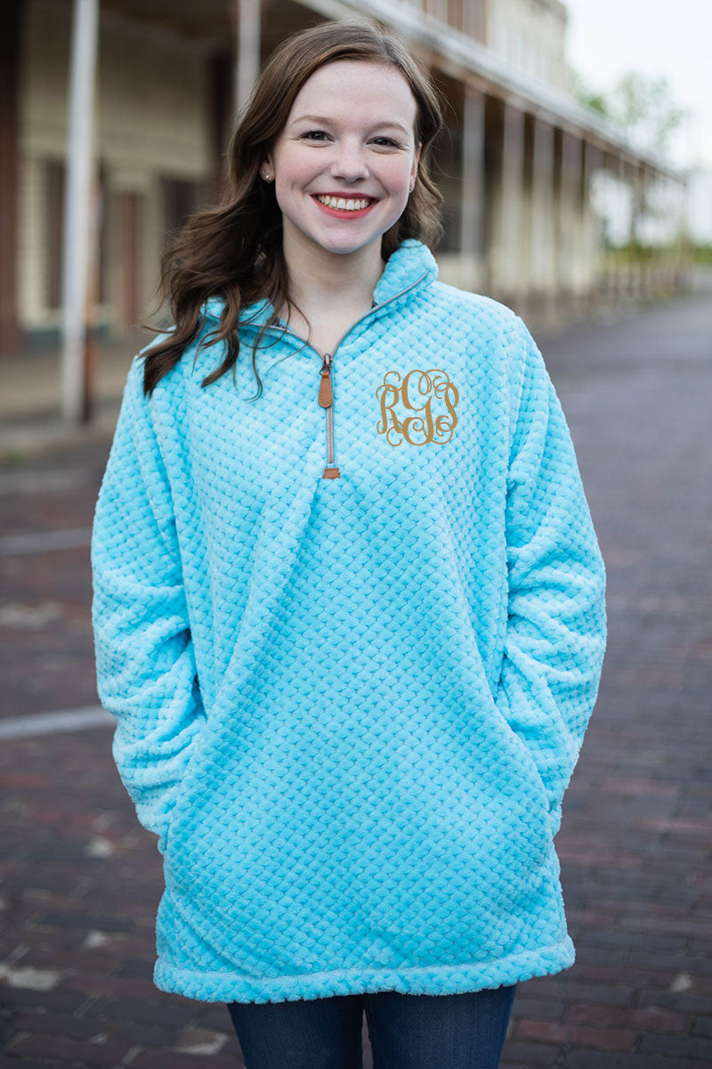 PRE-ORDER* Blue Plush Pineapple Fleece 1/4 Zip With Pockets **EXPECTED SHIP DATE 8/30**