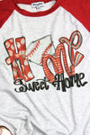 Baseball Home Sweet Home 3/4 Sleeve Raglan Tee