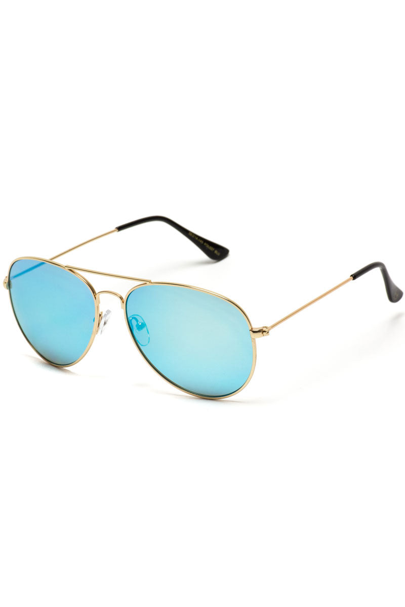 Blue Mirrored Lens Aviator Sunglasses