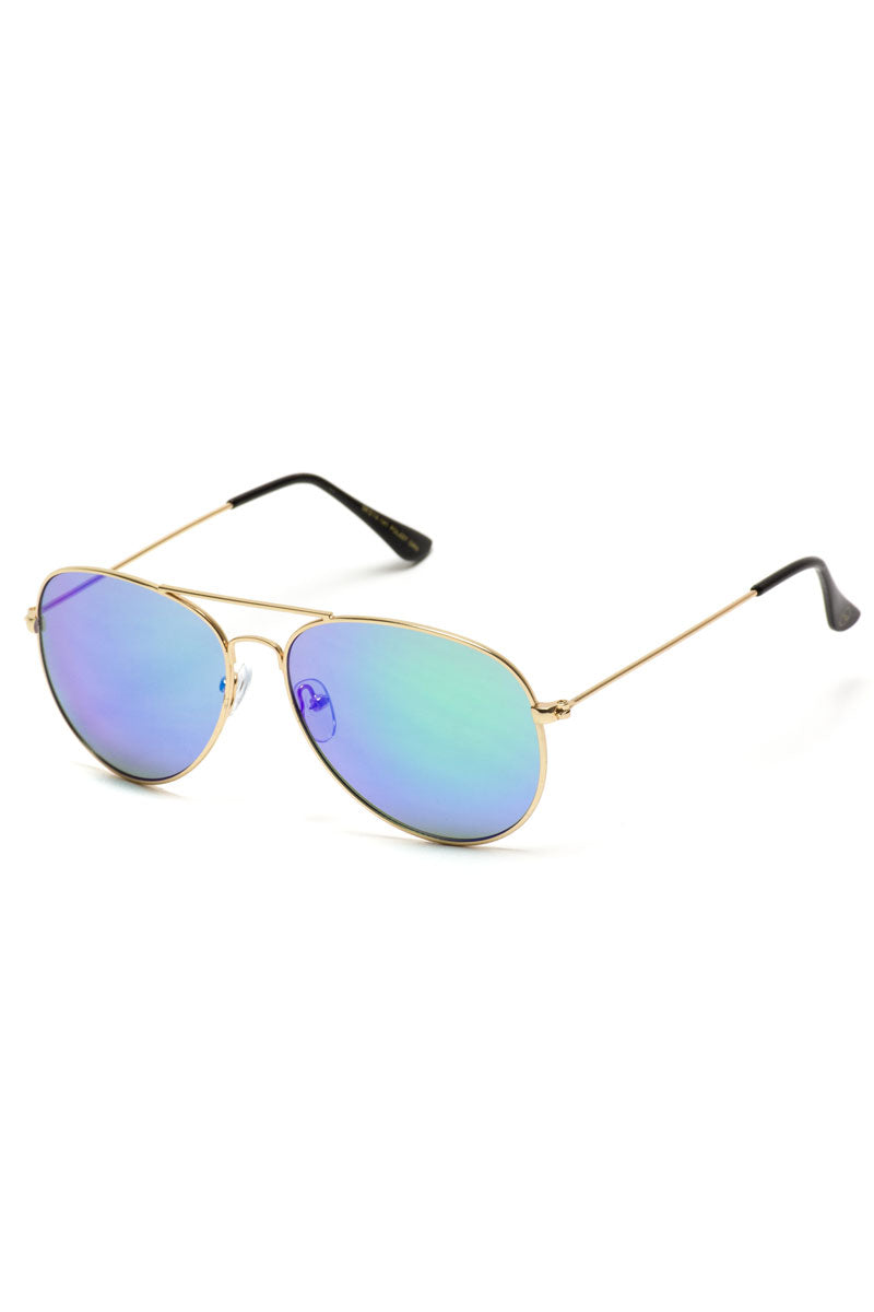 Green Mirrored Lens Aviator Sunglasses