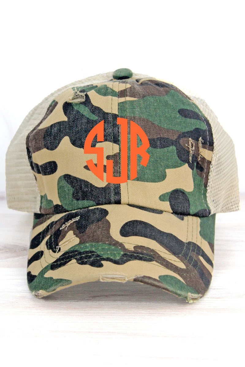Distressed Woodland Camo Mesh Ponytail Cap