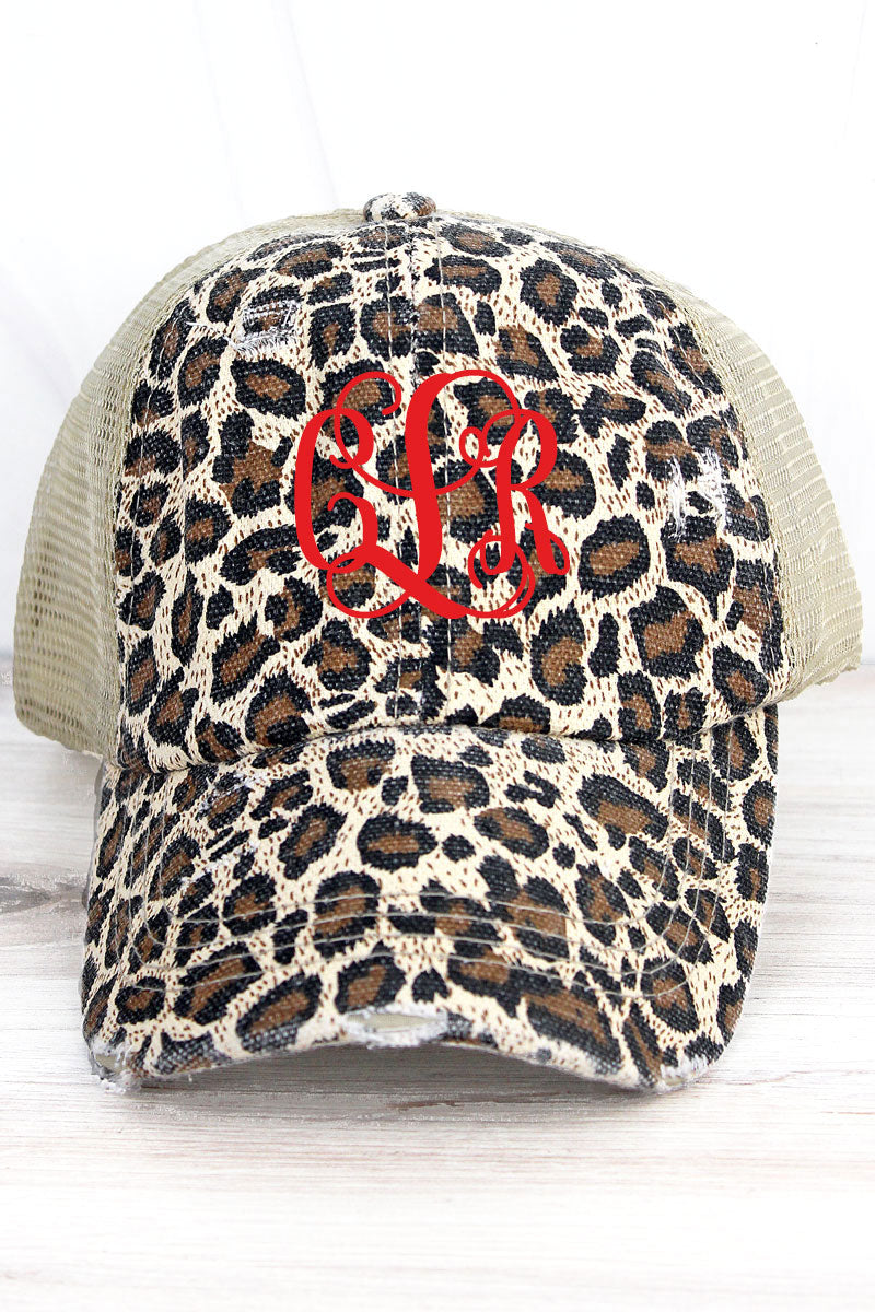 Distressed Leopard Mesh Ponytail Cap