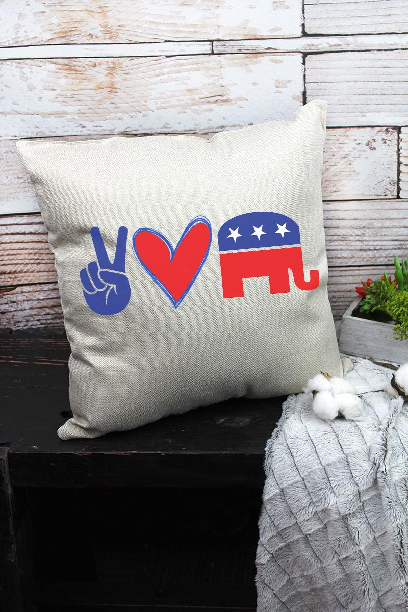 Peace Love Republican Decorative Pillow Cover