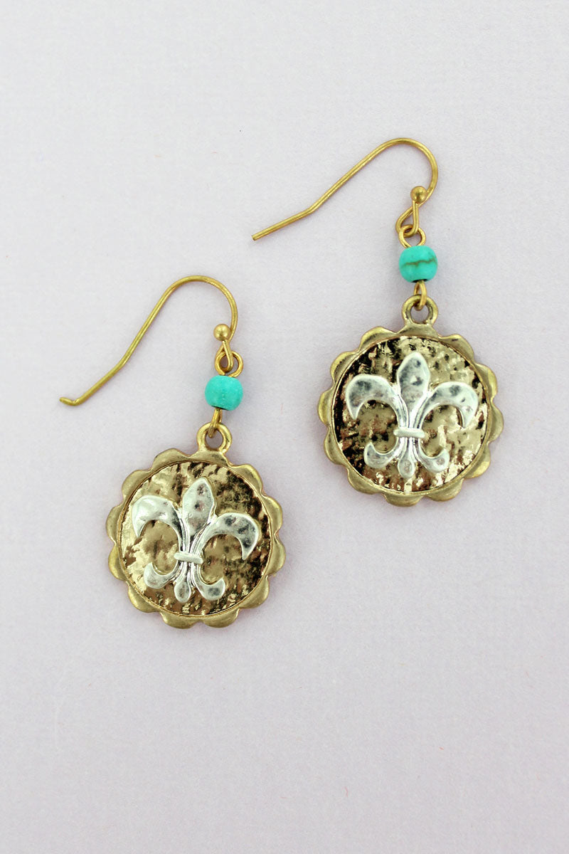 Goldtone with Silvertone Fleur de Lis Disk Drop Earrings