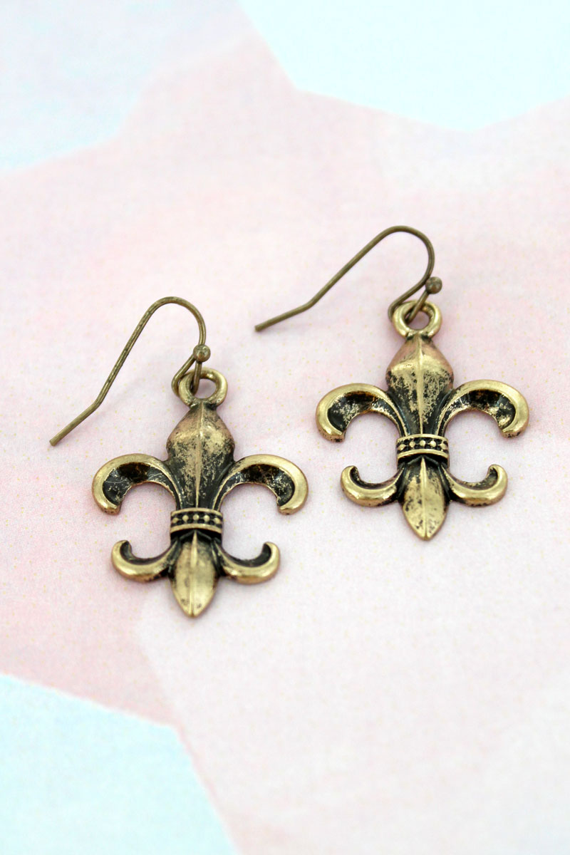 Burnished Goldtone Fleur de Lis Earrings
