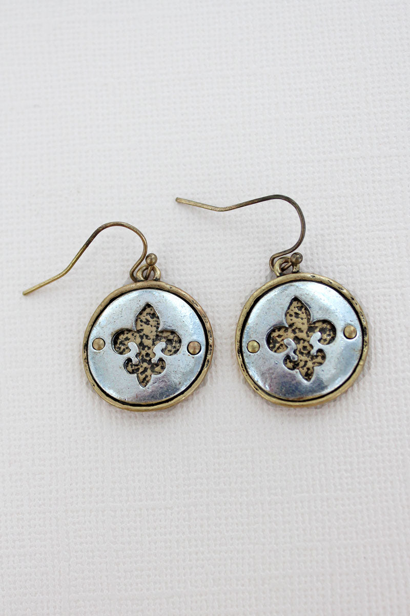 Goldtone with Silvertone Cut-Out Fleur de Lis Disk Earrings
