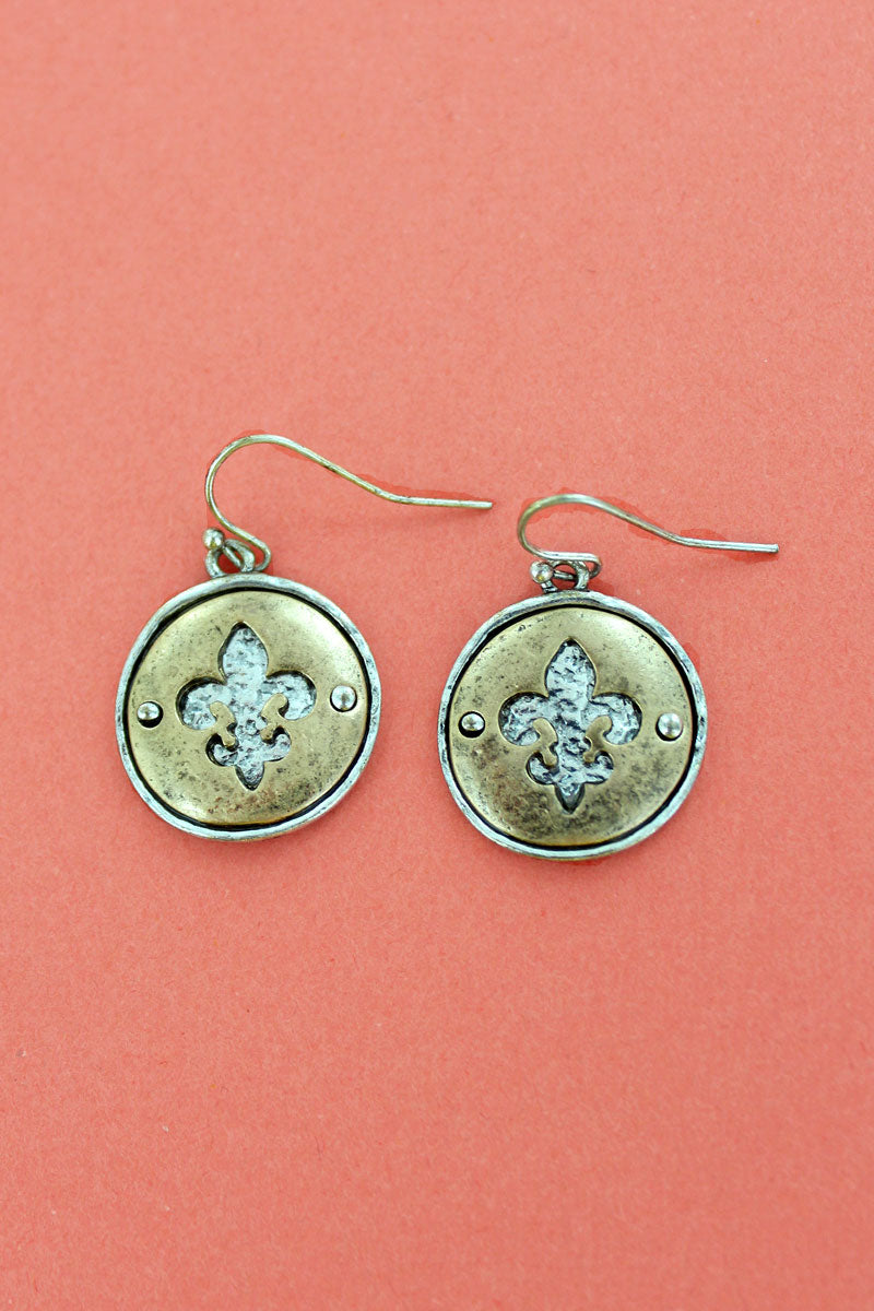 Silvertone with Goldtone Cut-Out Fleur de Lis Disk Earrings