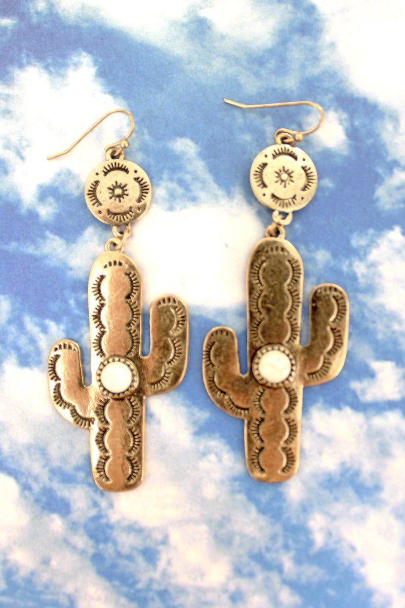 Burnished Goldtone with White Bead Cactus Earrings
