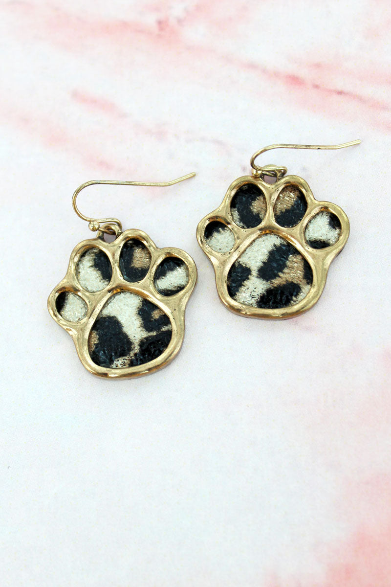 Goldtone and Snow Leopard Paw Print Earrings