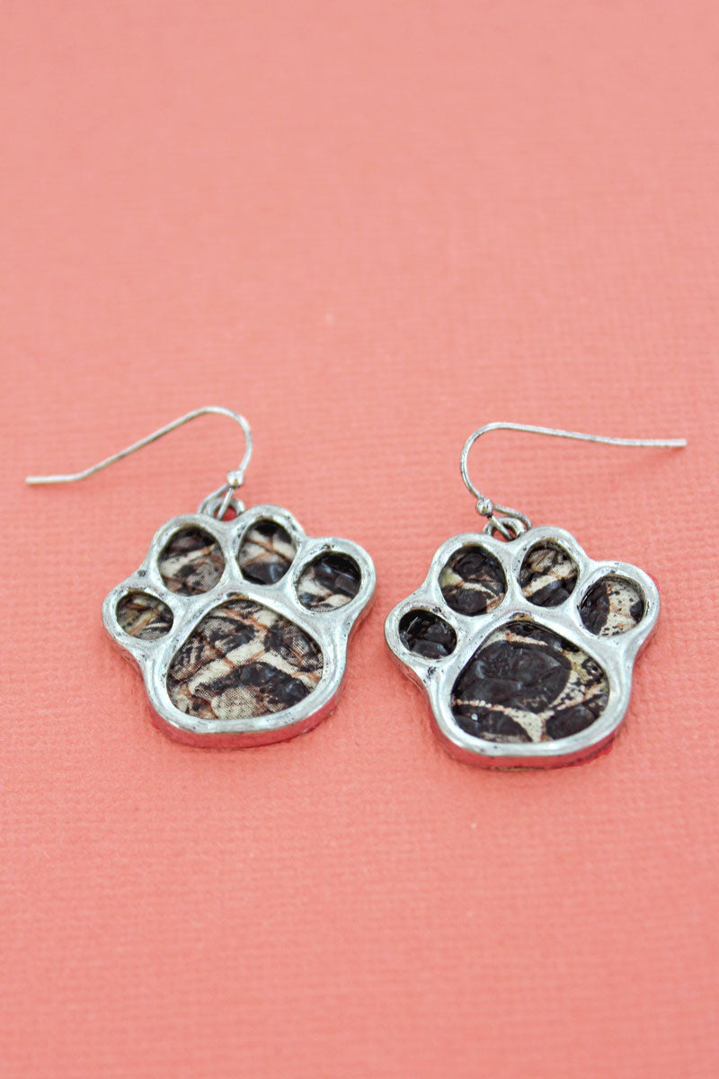 Silvertone and Snow Leopard Paw Print Earrings