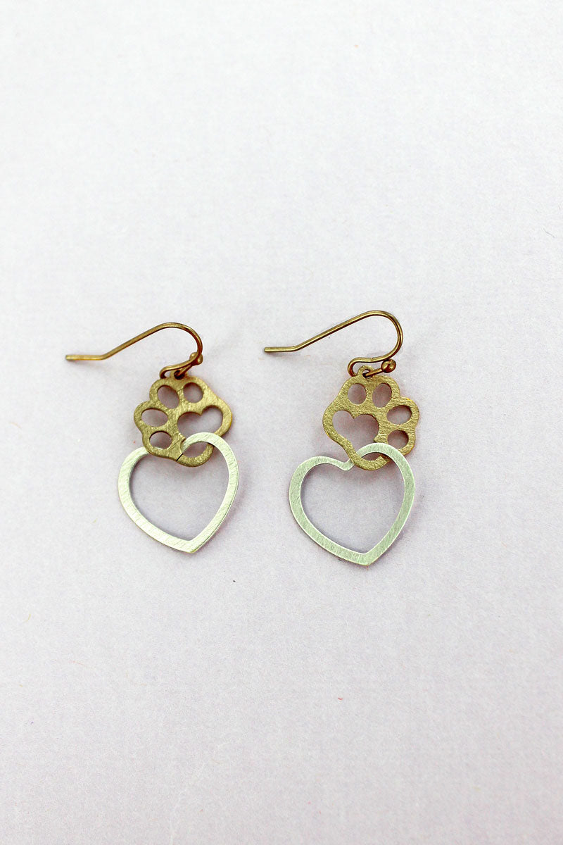 Worn Goldtone and Silvertone Scratched Heart with Paw Print Earrings