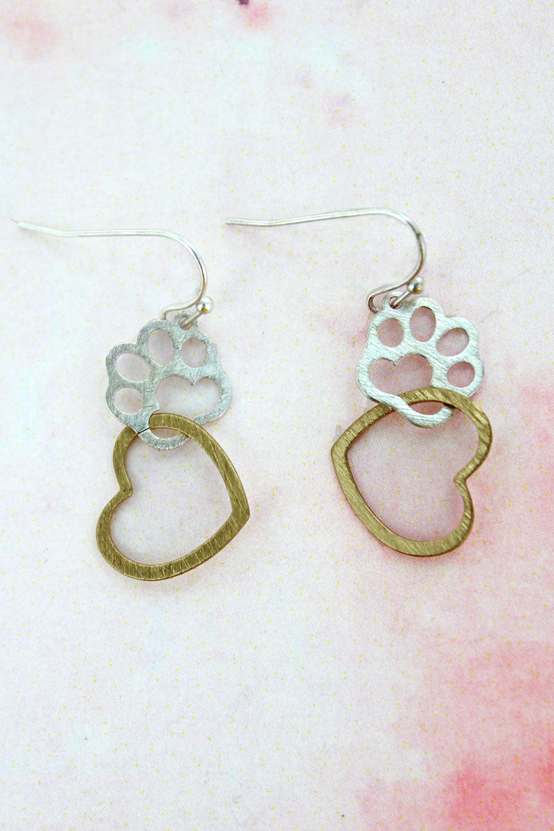 Worn Silvertone and Goldtone Scratched Heart with Paw Print Earrings