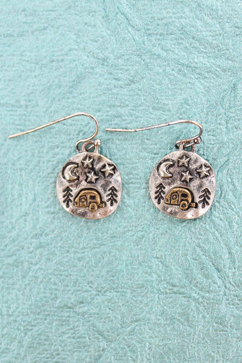 Burnished Silvertone Camping Disk Earrings