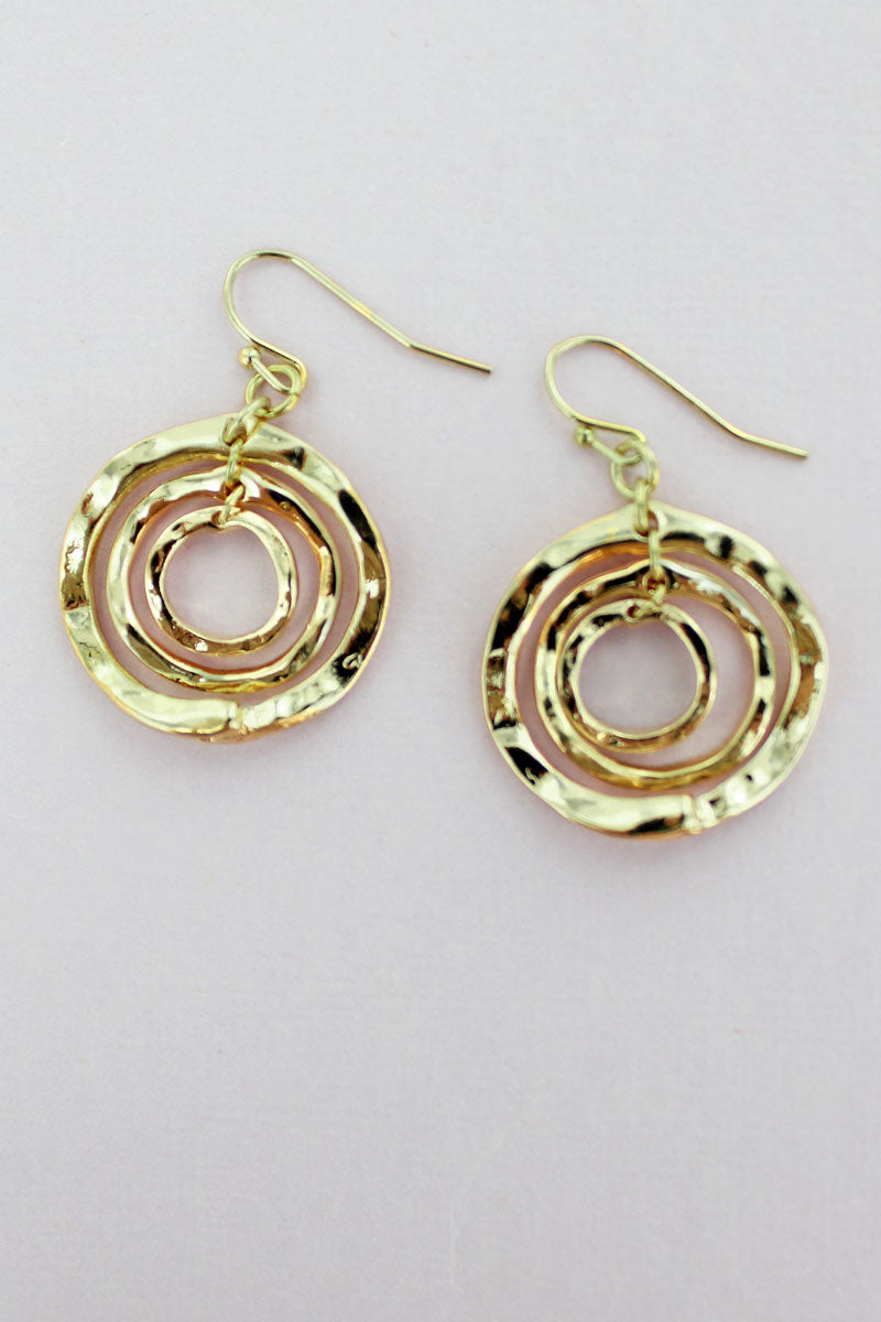 Wavy Goldtone Triple Circle Earrings