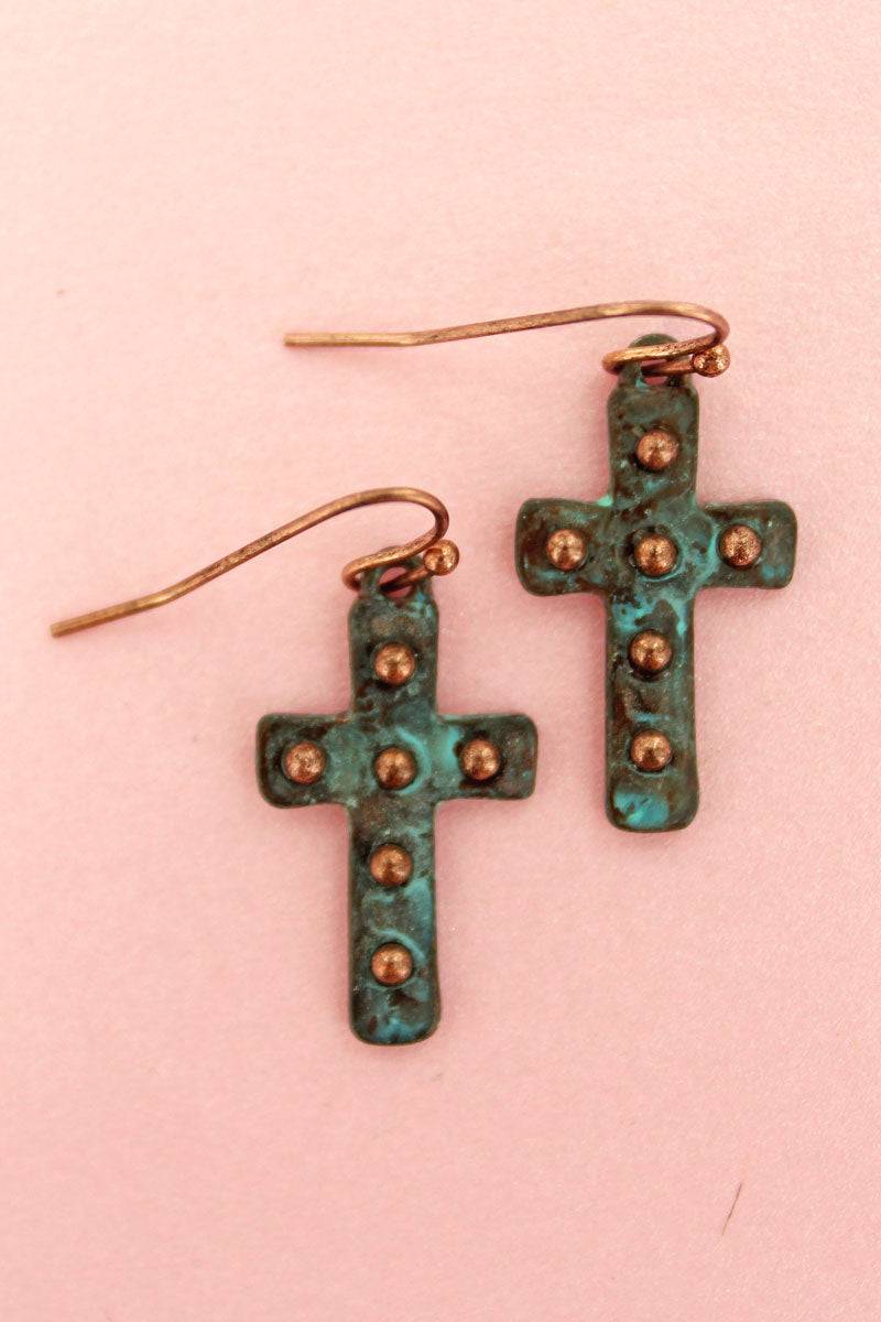 Studded Patina Cross Earrings